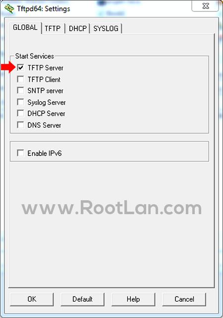 پنجره تنظیمات TFTPD