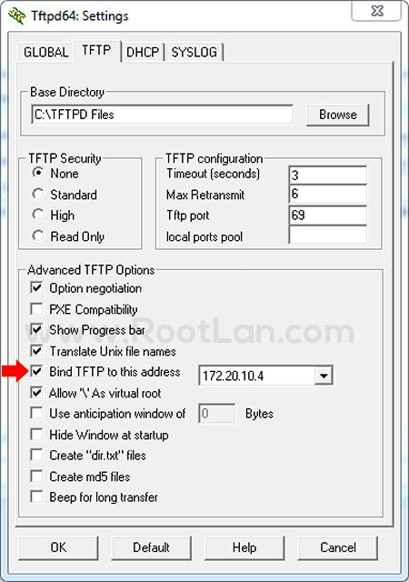 اختصاص آدرس آی پی به TFTP Server
